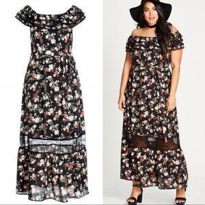 City Chic   22 Plus Free Love Maxi Dress Floral